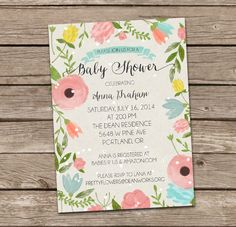 Baby Shower Invitation : Watercolor Foilage Baby Shower Invitation - Boy by deanworks on Etsy https://www.etsy.com/listing/181689453/baby-shower-invitation-watercolor