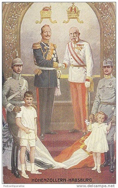 Verbündete im 1. Weltkrieg Habsburg und Hohenzollern (Allies at in The First World War--the Dynasties of Hohenzollern and Habsburg); at right middle is Archduke Carl of Austria (future Emperor) and Archduke Otto (future Crown Prince).  Likely ca. 1914