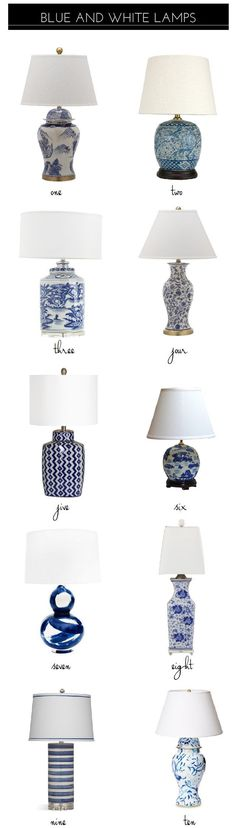 10 Classic Blue And White Lamps - blue and white lamps (product source list in blog post). Emily A. Clark