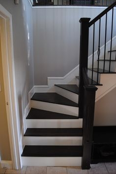 "Stairs Before & After -- replace wall with rail and ""columns"" to tie in with other columns?"