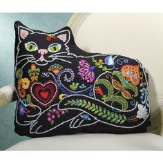 Snoozy Cat Crewel Embroidery Kit - Cross Stitch, Needlepoint, Embroidery Kits – Tools and Supplies