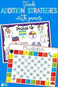 Addition games provide hands-on practice for learning addition strategies. Introduce the strategy with an anchor chart then engage your first grade students with fun math games that help improve their fact fluency. Perfect for homeschoolers too!#additionstrategies #additiongames
