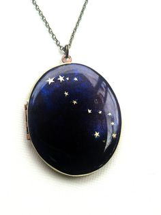 Scorpio Constellation Oval Locket Necklace