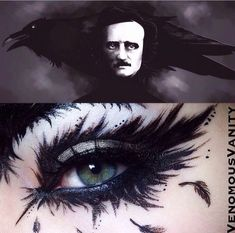 Halloween-Make-up-Ideen: Edgar Allen Poe inspirierte das Make-up - # . eye make up makeup makeup up artistico up night party make up make up gold eye make up eye make up make up Dark Fairy Makeup, Bird Makeup, Fx Makeup, Fantasy Makeup, Eyeshadow Makeup, Dark Angel Makeup, Maybelline Eyeshadow, Animal Makeup, Rave Makeup