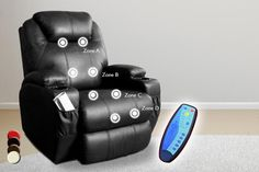 Leather Reclining Massage Chair - 4 Colours!