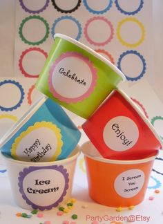 25 White Ice Cream Cups Large with DIY Labels by PartyGarden