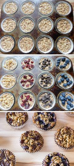 To-Go Baked Oatmeal with Your Favorite Toppings To make healthier: use less sugar and add in flax, etc