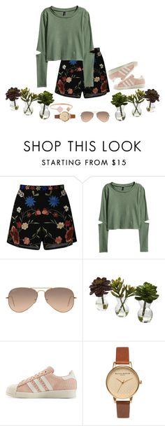 """""""Bloom"""" by alyroxmaxxx ❤ liked on Polyvore featuring Miss Selfridge, H&M, Ray-Ban, Nearly Natural, adidas Originals, Olivia Burton and Michael Kors"""