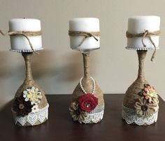 Wine glass candle holder by Beartsandcrafts on Etsy