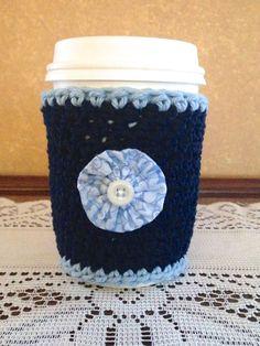 Blue Floral Crochet Coffee Cozy Blue Flower Coffee by musicgeek90
