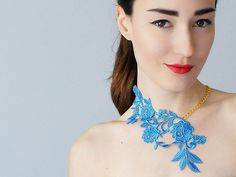 Lasata // Blue Necklace/ Lace Necklace/ Statement Necklace/ Lace Fashion/ Floral Necklace/ Women Accessory/ Gift For Her/ Woman Fashion
