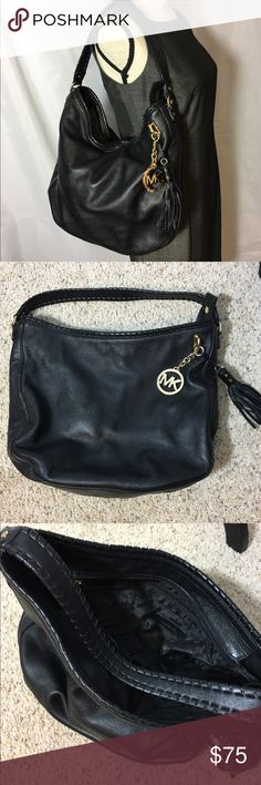 Michael Kors Black Leather Hobo Bag Gorgeous MK black leather hobo bag in excellent condition.  Black interior with large zip inner pocket.  Hardly used. Michael Kors Bags Hobos