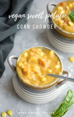 Delicious, easy vegan corn chowder with sweet potato and red pepper. On the table in under 40 minutes. Healthy and full of flavour. Fat-free, gluten-free. #soup #vegan #sweetpotato #recipes #food #easyrecipes #healthyrecipe #veganfood #glutenfree #oilfree #plantbased Cooking Prime Rib, Cooking A Roast, Pudding, Healthy Recipes, Desserts, Food, Health Recipes, Tailgate Desserts, Healthy Food Recipes