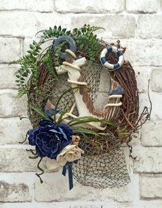 Nautical Anchor Wreath, Summer Wreath for Door, Front Door Wreath, Summer Door Wreath, Navy Sailor Wreath, Ocean, Sea, Beach Wreath, Blue and White Wreath, Life Preserver, Lake House, Boat, Fish Net, Ship, Seaside, Sailing, Coastal, by Adorabella Wreaths!