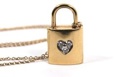 Tiffany & Co 18K Gold Diamond Lock Pendant 16 by WarrenExchange, $1150.00