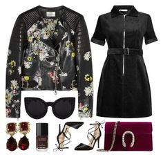 """""""There's nothing sweet about me."""" by refinedpunk ❤ liked on Polyvore featuring Erdem, Glamorous, Gucci, French Connection, Delalle, Chanel, Winter, floral, leatherjackets and minibags"""
