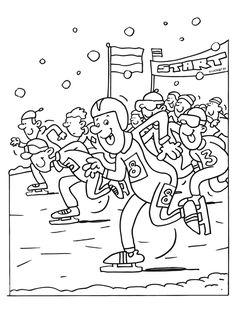 Kleurplaat Marathonschaatsen op natuurijs - Kleurplaten.nl