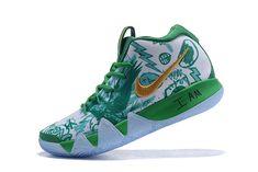 Nike Kyrie 4 Boston Celtics Green White Gold Basketball Shoes 0b7fb3e13