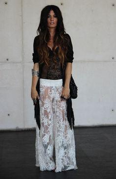 PANTS Madame de Rosa, FRINGED CARDIGAN Topshop, BODY Victoria's Secret, SHOES YvesSaintLaurent, BAG Chanel)