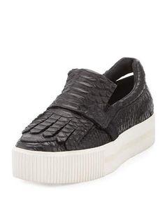 S0G45 Ash King Embossed Leather Kiltie Sneaker, Black