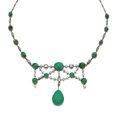 Emerald and diamond necklace, late 19th century The front of swag design, the stones connected by knife edge linking, set with cabochon emeralds and a polished emerald drop, circular-cut and rose diamonds, length approximately 440mm.