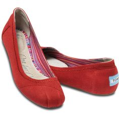 TOMS Red Canvas Ballet Flats ❤ liked on Polyvore