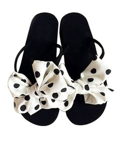 Fashion Summer Item, Lovely Polka Dot Bowknot Flip Flop Beach Casual Sandals *** Want additional info? Click on the image.