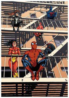 Spider-Men and Women - Spider-Woman, Arachne, Amazing Spider-Man, Superior Spider-Man, Ultimate Spider-Man, and Spider-Man 2099 by David Wynne