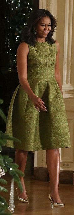 Michelle Obama http://www.dailymail.co.uk/femail/article-3345105/Have-presidential-Christmas-Michelle-Obama-unveils-White-House-s-spectacular-holiday-decorations-FEMAIL-charts-festive-history-Tree.html