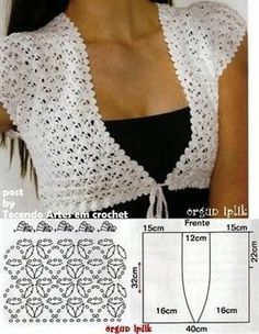 "002 ""This is the pattern:Tecendo Artes em Crochet: Achados da Net"", ""lovely and easy crochet bolero!"", ""bolero crochet pattern, measures can be used Débardeurs Au Crochet, Gilet Crochet, Mode Crochet, Crochet Shirt, Crochet Jacket, Crochet Woman, Crochet Cardigan, Crochet Scarves, Crochet Clothes"