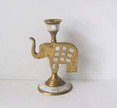 Brass and Mother of Pearl Elephant Candle by TeaAndHoneyVintage, $19.00