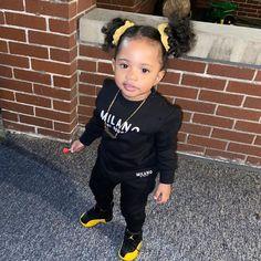 Cute Mixed Babies, Cute Black Babies, Beautiful Black Babies, Cute Babies, Little Girl Swag, Cute Little Girls Outfits, Kids Outfits, Black Baby Girls, Cute Baby Girl