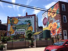Outdoor murals at the corner of 9th Street South and East Passyunk Avenue in Philadelphia