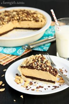 Peanut Butter and Mississippi Mud Fudge Pie - www.afarmgirlsdabbles.com