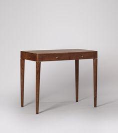 Bjorn Small Desk, Scandi Style in Dark Brown Acacia & Brass | Swoon Scandi Style, Brass Handles, Drawer Fronts, Acacia, Design Crafts, Solid Brass, Your Design, Dark Brown