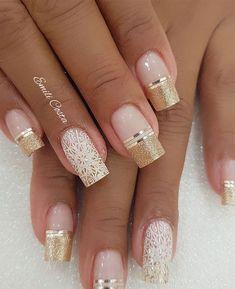 100 Beautiful wedding nail art ideas for your big day - bride nails pink nail art, romantic nail ideas, wedding nail French nails Classy Nails, Fancy Nails, Stylish Nails, Cute Nails, Diy Elegant Nails, Wedding Nails Design, Nail Wedding, Gold Wedding, Wedding Ceremony