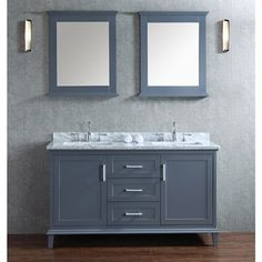 Seacliff by Ariel Nantucket 60 Double Sink Vanity Set with Carrera White Marble Countertop Whale Grey Double Sink Vanity, Vanity Set With Mirror, Single Sink Bathroom Vanity, Vanity Sink, Bath Vanities, Bathroom Styling, Bathroom Ideas, Bath Ideas, Bathroom Designs