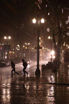 Running between the raindrops in Portland.