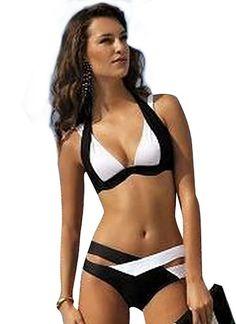 MingTai Donne Costume Avvolgere Bikini Triangolo Costumi Da Bagno Donna Costumi Mare Beachwear Moda Mare Costumi Due Pezzi Nero Bianco L