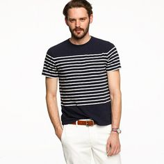 Slub jersey tee in nautical stripe