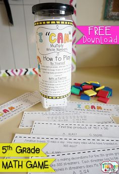 FREE 5th Grade I CAN Math Game covers MULTIPLYING WHOLE NUMBERS for 5th grade. Perfect for Guided Math & Test Prep! {Common Core} FREE