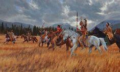 James Ayers, Native American art painter, presents Black Hills War Path, a giclee featuring Lakota warriors and horsemen near the Black Hills in Dakota.