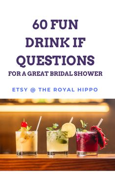 Pour the drinks and get ready to turn up with this awesome bridal shower game. 60 hilarious questions for a fun filled night of laughter. Drinking Game Questions, Bachelorette Drinking Games, Bachelorette Ideas, Hen Party Games, Printable Bridal Shower Games, Fun Drinks, This Or That Questions, Hilarious, Funny