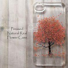 MAK Disegno Cherry Blossom Pressed Real Flower Bling Resin Hard Skin Case Cover