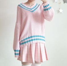 Pastel Pink V-neck Knitted Sweater