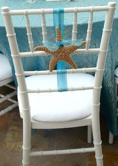 Interesting Reception Chair Decoration not using too much ribbon find object T likes, like a purple dried hydragea do every other chair? Beach Wedding Reception, Beach Wedding Favors, Nautical Wedding, Trendy Wedding, Summer Wedding, Beach Weddings, Wedding Ceremony, Wedding Ideas, Luau Wedding