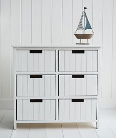Beach free standing bathroom cabinet furniture with 6 drawers. White New England and coastal style furniture and home decor accessories for your bathroom White Bathroom Furniture, White Bathroom Cabinets, Hall Furniture, Coastal Furniture, Cabinet Furniture, White Furniture, Furniture Design, Wooden Furniture, Furniture Ideas