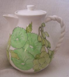 Hand Painted Ernestine Salerno Italy Coffee Tea Pot Water Server Pitcher Lid