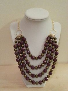Purple and gold statement necklace/bib by ILoveBeads247 on Etsy, $19.00 reduced price by $3