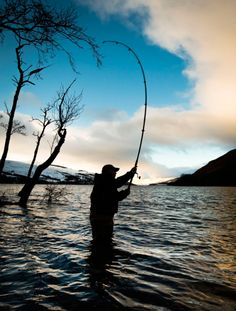 An angler at the mouth of the River Tay in Kenmore, Scotland, on the opening day of the salmon fishing season